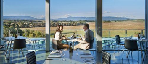 Couple dining at Yering Station Winebar Restaurant, Yarra Valley